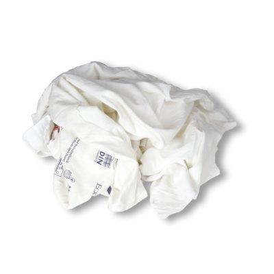 Trapos de punto camista blanca de algodón reciclados y fabricados por Trapos Los Pozicos
