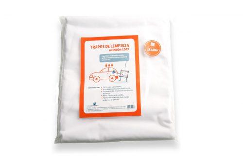 Trapos de limpieza sábana algodón en bolsa individual.